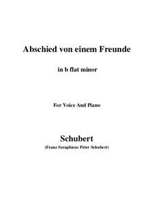 Abschied von einem Freunde (Farewell to a Friend), D.578: B flat minor by Franz Schubert