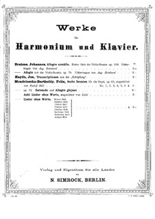 Sonata for Violin and Piano No.2 in A Major, Op.100: Movement I. Version for harmonium and piano – piano part by Johannes Brahms