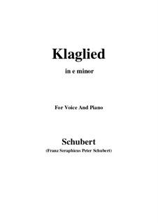Klaglied (Lament), D.23 Op.131 No.3: E minor by Franz Schubert