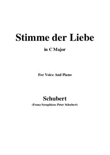 Stimme der Liebe (Voice of Love), D.412: For voice and piano (C Major) by Franz Schubert