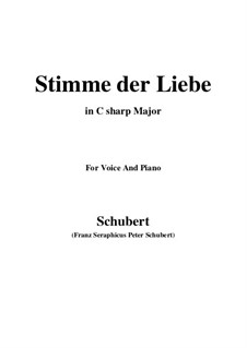 Stimme der Liebe (Voice of Love), D.412: For voice and piano (C sharp Major) by Franz Schubert