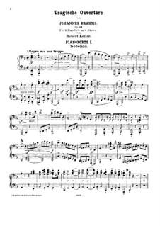 Tragic Overture, Op.81: para dois pianos para oito mãos - piano parte I by Johannes Brahms