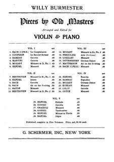 Pieces by Old Masters: Volume III, No.13-18 for violin and piano – score by Carl Philipp Emanuel Bach, Carl Ditters von Dittersdorf, Wolfgang Amadeus Mozart, Giovanni Battista Pergolesi, Johann Mattheson, Jean Baptiste Loeillet of London