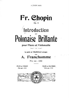 Introduction and Polonaise Brilliant in C Major, Op.3: Score for two performers by Frédéric Chopin