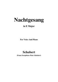 Nachtgesang (Night Song), D.119: E Major by Franz Schubert