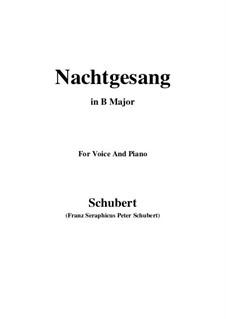 Nachtgesang (Night Song), D.119: B Major by Franz Schubert