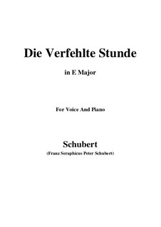 Die verfehlte Stunde (Unsuccessful Hour), D.409: E Major by Franz Schubert
