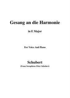 An die Harmonie, D.394: E Major by Franz Schubert