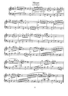 No.36 Minuet in D Minor, BWV Anh.132: Para Piano by Johann Sebastian Bach