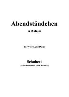 Abendständchen. An Lina (Evening Serenade. To Lina), D.265: D maior by Franz Schubert