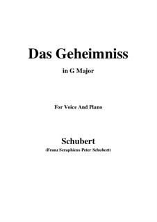 Das Geheimnis (The Secret), D.793 Op.173 No.2: G maior by Franz Schubert