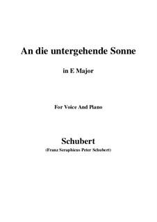 An die untergehende Sonne (To the Setting Sun), D.457 Op.44: E Major by Franz Schubert