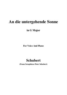 An die untergehende Sonne (To the Setting Sun), D.457 Op.44: G maior by Franz Schubert