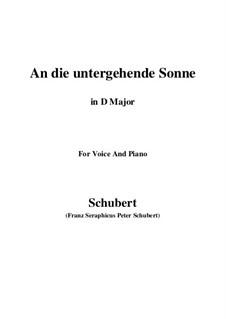 An die untergehende Sonne (To the Setting Sun), D.457 Op.44: D maior by Franz Schubert