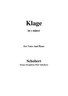 Klage (Sorrow Floods My Life), D.371: B minor by Franz Schubert
