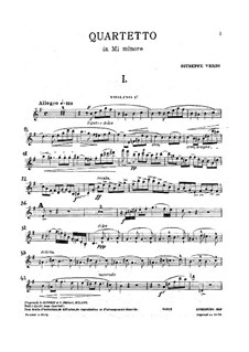 String Quartet in E Minor: partes by Giuseppe Verdi