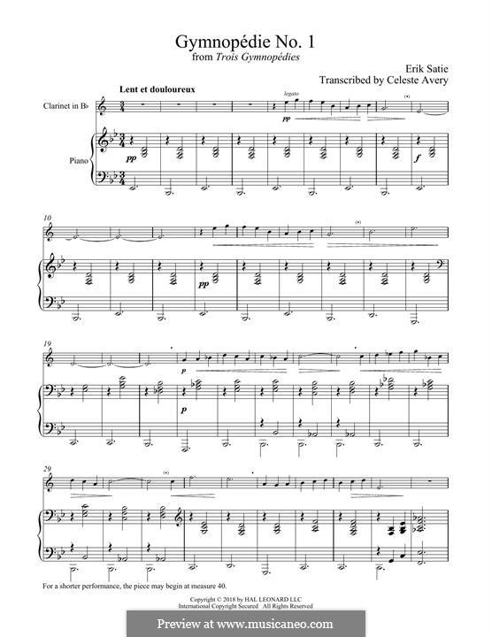 No.1: para clarinete e piano by Erik Satie