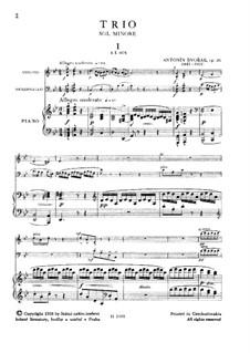Piano Trio No.2 in G Minor, B.56 Op.26: Partitura completa by Antonín Dvořák