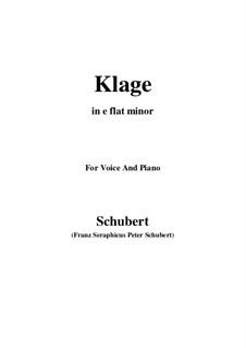 Klage (Sorrow Floods My Life), D.371: E flat minor by Franz Schubert