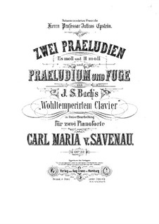 The Well-Tempered Clavier. Selections: Two Preludes, Prelude and Fugue for Two Pianos Four Hands by Johann Sebastian Bach