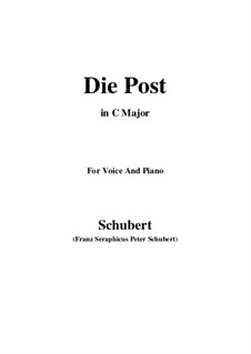 No.13 Die Post (The Post): For voice and piano (C Major) by Franz Schubert