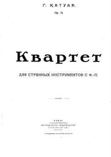 Piano Quartet in A Minor, Op.31: Partitura completa by Georgy Catoire