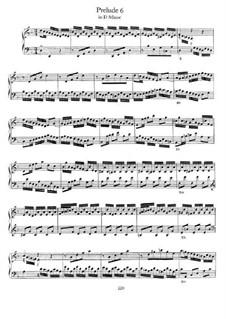 Prelude and Fugue No.6 in D Minor, BWV 875: Para Piano by Johann Sebastian Bach