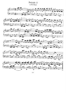 Prelude and Fugue No.13 in F Sharp Major, BWV 858: Para Piano by Johann Sebastian Bach