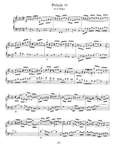Prelude and Fugue No.19 in A Major, BWV 888: Para Piano by Johann Sebastian Bach