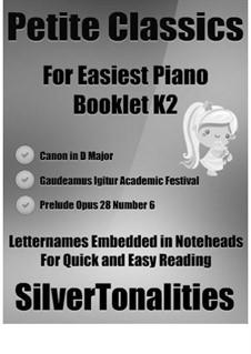 Petite Classics for Easiest Piano Booklet K2: Petite Classics for Easiest Piano Booklet K2 by Johannes Brahms, Johann Pachelbel, Frédéric Chopin