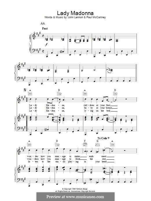 Lady Madonna (The Beatles): Para vocais e piano (ou Guitarra) by John Lennon, Paul McCartney