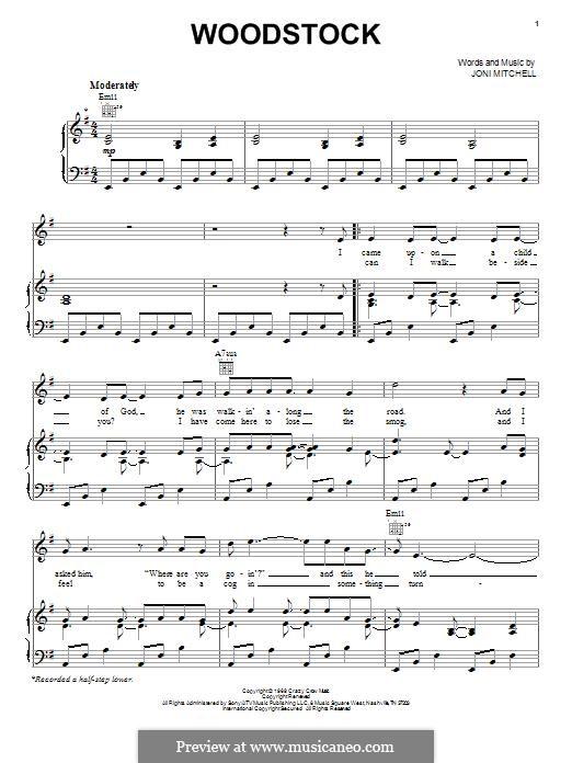 Woodstock (Eva Cassidy): Para vocais e piano (ou Guitarra) by Joni Mitchell