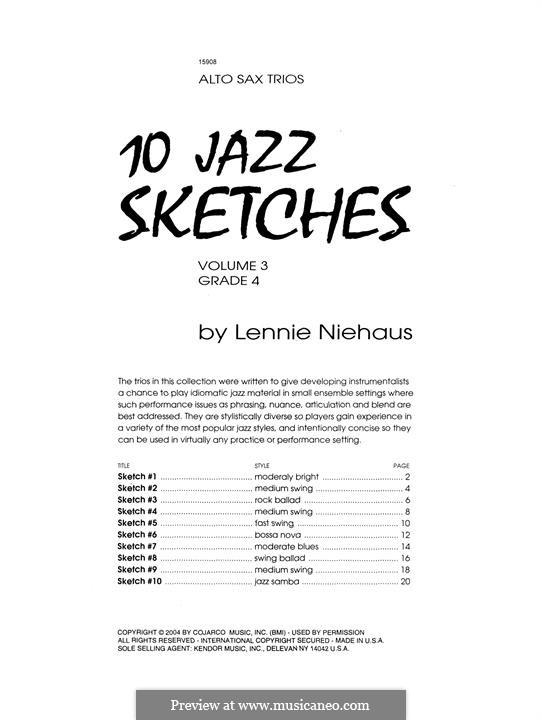 10 Jazz Sketches: Volume 3 (altos) by Lennie Niehaus