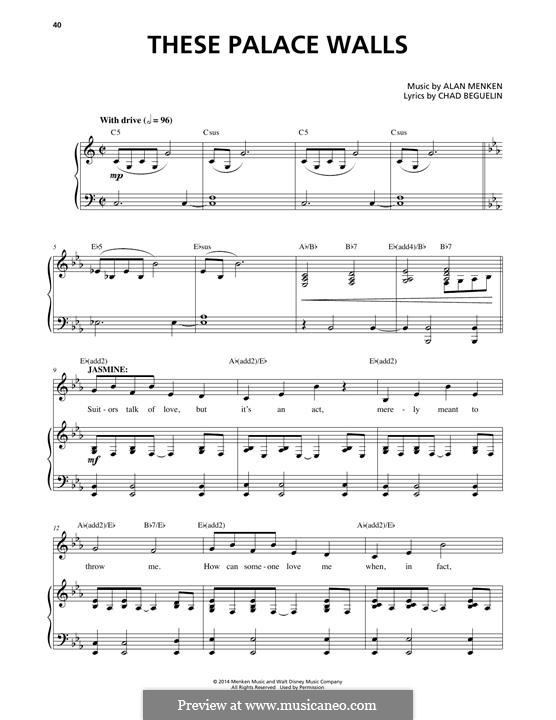 These Palace Walls: Para vocais e piano by Alan Menken