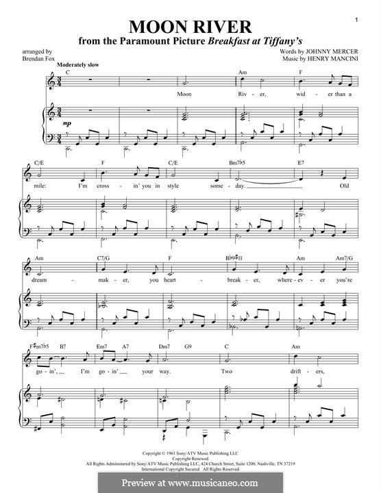 Moon River (from Breakfast at Tiffany's): Para vocais e piano by Henry Mancini