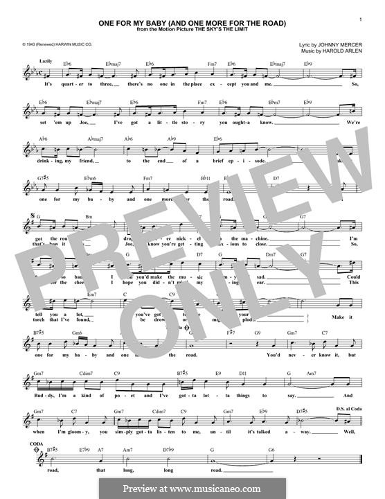 One for My Baby (And One More for the Road): melodia by Harold Arlen