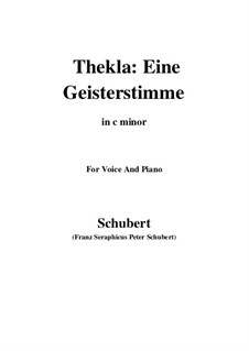Thekla. A Spirit Voice, D.595 Op.88 No.2: For voice and piano (c minor) by Franz Schubert