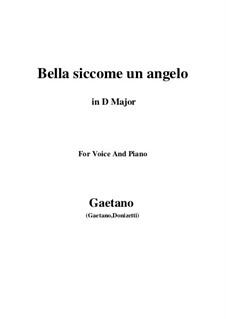 Don Pasquale: Bella siccome un angelo (D Major) by Gaetano Donizetti