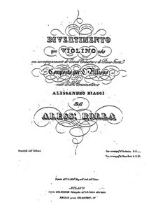 Divertissement for Violin and Orchestra (or Piano), BI 485: Divertissement for Violin and Orchestra (or Piano) by Alessandro Rolla