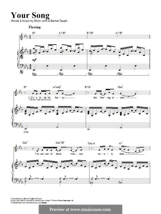 Your Song: Para vocais e piano by Elton John