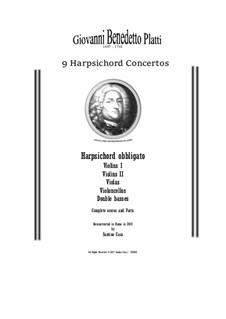9 Concertos for Harpsicord obbligato and Strings: Scores and parts, CSPla28 by Giovanni Benedetto Platti