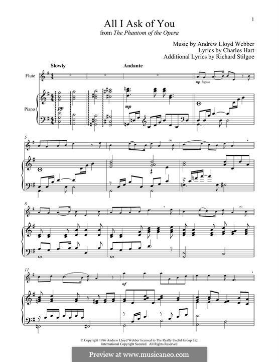 All I Ask of You: para flauta e piano by Andrew Lloyd Webber