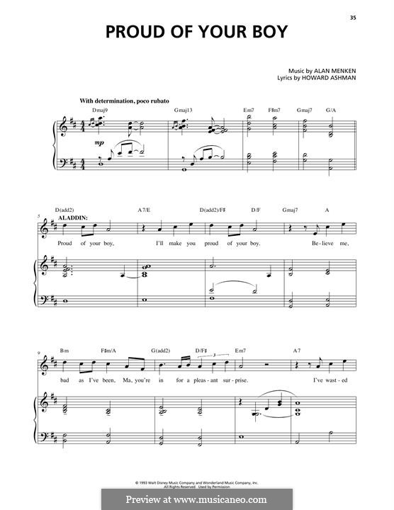 Proud of Your Boy (from Aladdin): Para vocais e piano by Alan Menken