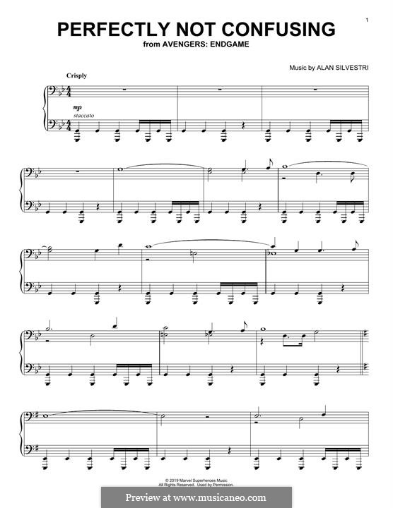 Perfectly Not Confusing (from Avengers: Endgame): Para Piano by Alan Silvestri