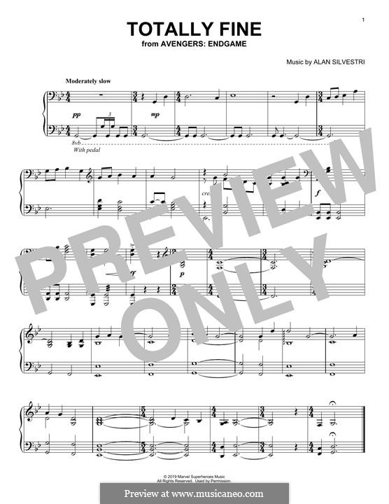 Totally Fine (from Avengers: Endgame): Para Piano by Alan Silvestri