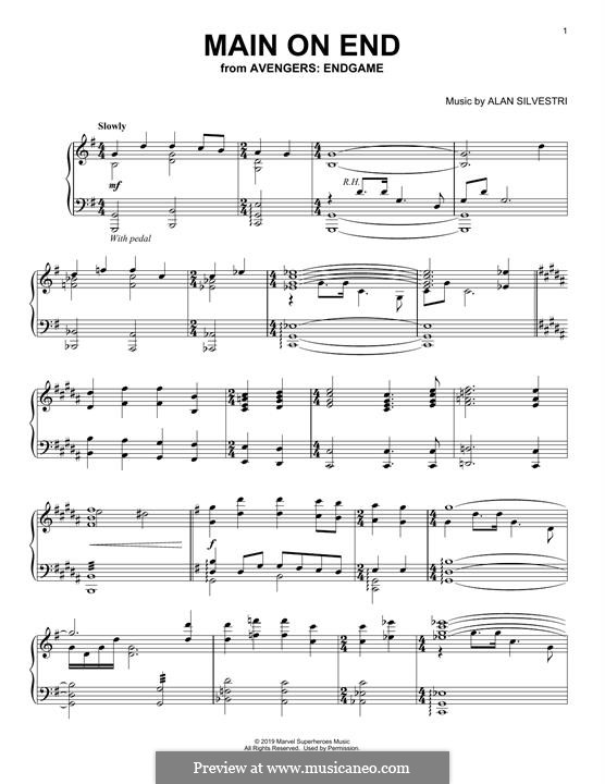 Main on End (from Avengers: Endgame): Para Piano by Alan Silvestri