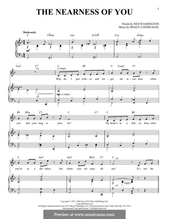 The Nearness of You: Para vocais e piano by Hoagy Carmichael
