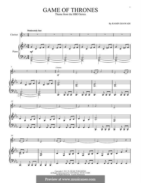 Game of Thrones: para clarinete e piano by Ramin Djawadi