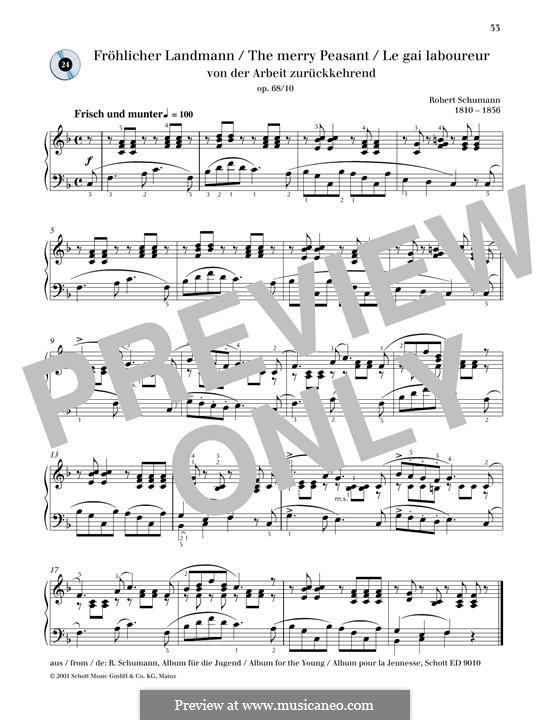 No.10 Fröhlicher Landmann (The Happy Farmer): Para Piano by Robert Schumann