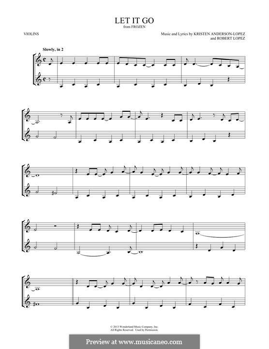 Let It Go (from Frozen): para dois violinos by Robert Lopez, Kristen Anderson-Lopez